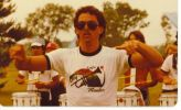 Photo of drum major in 1983 wearing a members t-shirt.