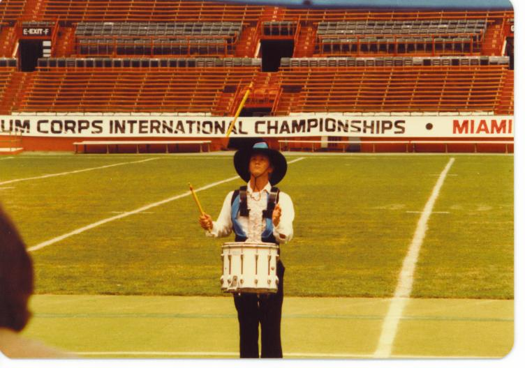 Photo of 1983 Sky Ryders Sanare, Denny, performing at DCI Finals Individual and Ensemble.