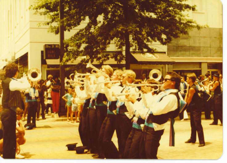 Photo of the Soprano line having fun playing at a standstill in 1983.